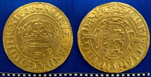 Guld 2-krone 1628 fundet af Tobias Bondesson med Minelab X-Terra